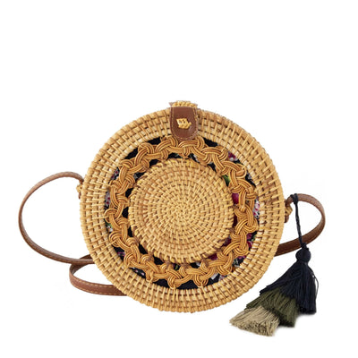 Made Terra Straw bags PU Leather Round Rattan Bag | 9- inch Summer Essential Straw Handbags for Women (Asian Drum)