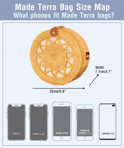 Made Terra Straw bags Round Rattan Bag (Sun) | 9-Inch Summer Essential Straw Bag for Women