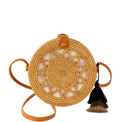 Made Terra Straw bags Natural / Genuine Leather Round Rattan Bag (Sun) | 9-Inch Summer Essential Straw Bag for Women