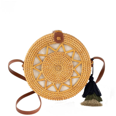 Made Terra Straw bags Natural / PU Leather Round Rattan Bag (Sun) | 9-Inch Summer Essential Straw Bag for Women