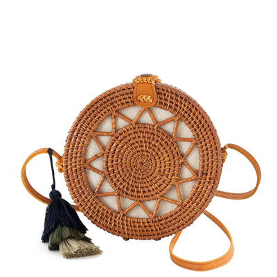 Made Terra Straw bags Rattan Brown / Genuine Leather Round Rattan Bag (Sun) | 9-Inch Summer Essential Straw Bag for Women