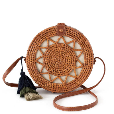 Made Terra Straw bags Rattan Brown / PU Leather Round Rattan Bag (Sun) | 9-Inch Summer Essential Straw Bag for Women