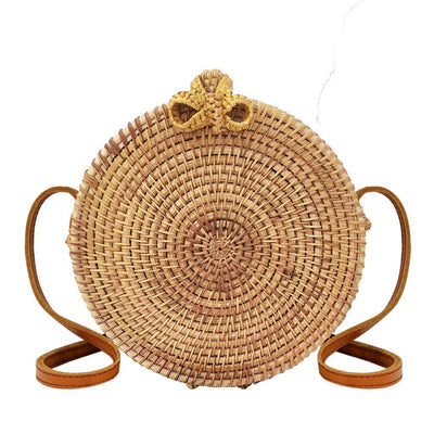 "Made Terra Straw bags Round Rattan Bag with Butterfly Clasp (8"") 