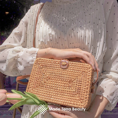 Made Terra Straw bags Square Rattan Purse | Summer Essential Hand Woven Wicker Women Crossbody Bag
