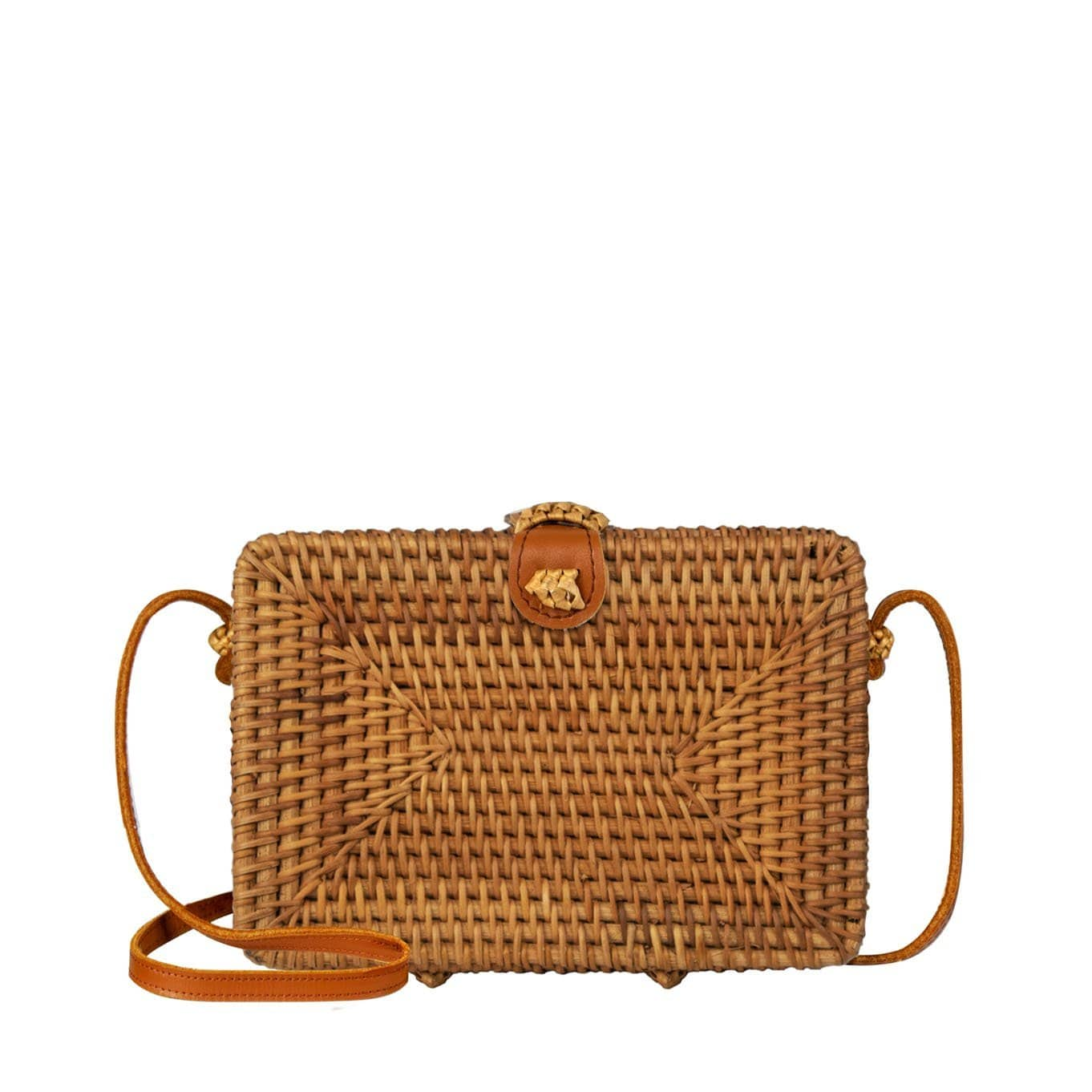 Made Terra Straw bags Genuine Leather Square Rattan Purse | Summer Essential Hand Woven Wicker Women Crossbody Bag
