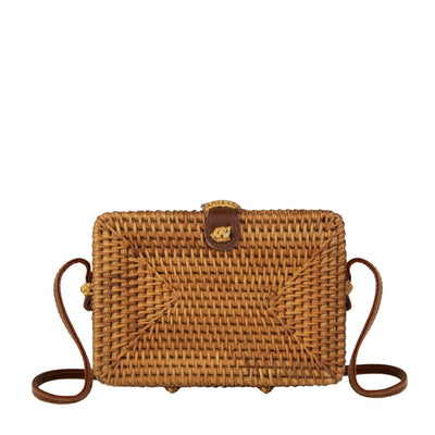 Made Terra Straw bags PU Leather Square Rattan Purse | Summer Essential Hand Woven Wicker Women Crossbody Bag
