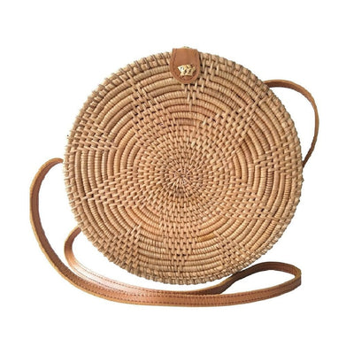 "Made Terra Straw bags Star Round Rattan Bag (10"") 