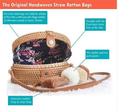 Made Terra Straw bags Floral Star Round Rattan Bag | 8-Inch Summer Essential Straw Bag for Women