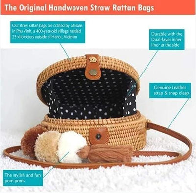 Made Terra Straw bags Polka Dot Star Round Rattan Bag | 8-Inch Summer Essential Straw Bag for Women