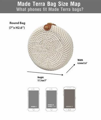 Made Terra Straw bags White Rattan Crossbody Bag (7-Inch) | Star Front Circle  Wicker Women Purse