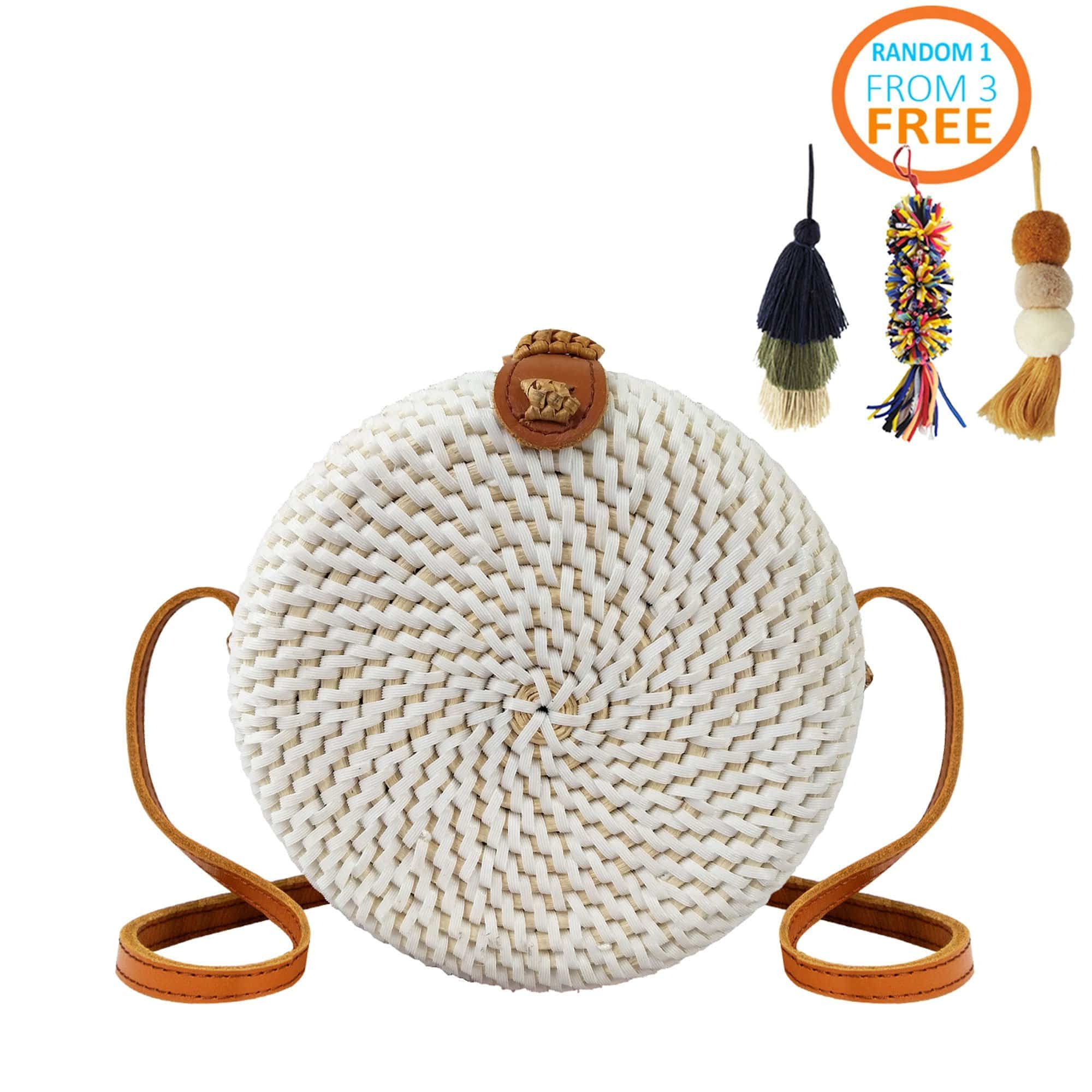 Made Terra Straw bags White Round Rattan Bag (7-Inch) | Solid- Front Woven  Crossbody Bag for Women