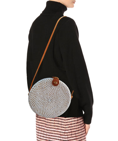 Made Terra Straw bags White Round Rattan Bag | 9-Inch Woven Straw Crossbody Wicker Purse for Women