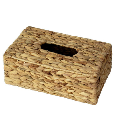 Made Terra Tissue Box Cover Water Hyacinth Rectangular Wicker Tissue Box Cover | Handwoven Seagrass Napkin Paper Dispenser