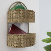 Made Terra Wall Basket Wall Hanging Storage Basket (2-tier Oval | Rustic Wicker Wall Mounted Storage Organiser