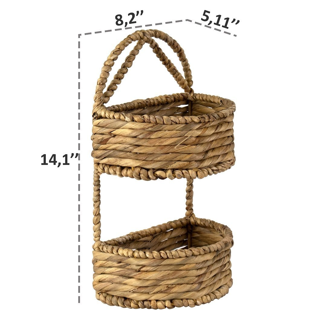 2 Tier Wicker Wall Hanging Storage Baskets Rustic Wall Mounted Stora Made Terra