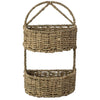 Made Terra Wall Basket Set 1 / Seagrass Wall Hanging Storage Basket (2-tier Oval | Rustic Wicker Wall Mounted Storage Organiser