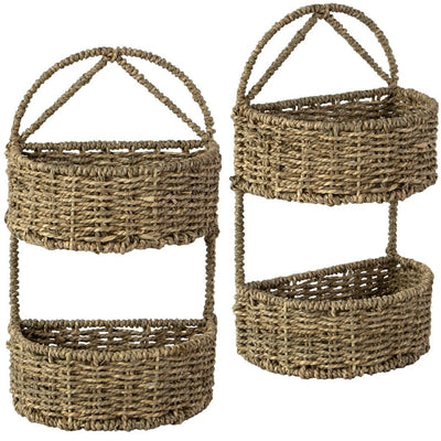 Made Terra Wall Basket Set 2 / Seagrass Wall Hanging Storage Basket (2-tier Oval | Rustic Wicker Wall Mounted Storage Organiser