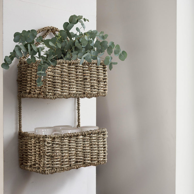 Made Terra Wall Basket Set 1 / Seagrass Wall Hanging Storage Basket (2-Tier Rectangle ) | Rustic Wicker Wall-Mounted Storage Organiser Baskets
