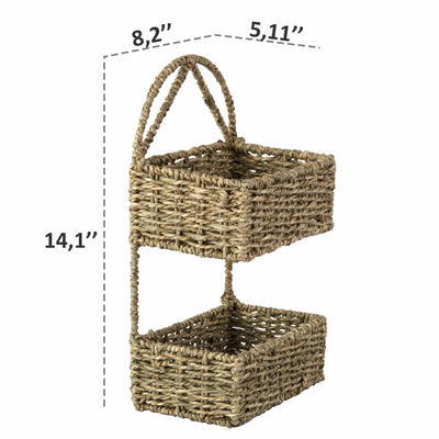 Made Terra Wall Basket Wall Hanging Storage Basket (2-Tier Rectangle ) | Rustic Wicker Wall-Mounted Storage Organiser Baskets