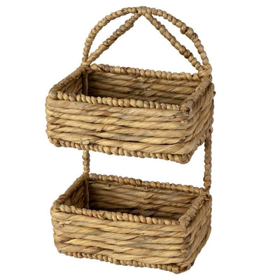 Made Terra Wall Basket Set 1 / Water Hyacinth Wall Hanging Storage Basket (2-Tier Rectangle ) | Rustic Wicker Wall-Mounted Storage Organiser Baskets