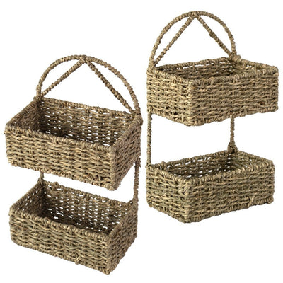 Made Terra Wall Basket Set 2 / Seagrass Wall Hanging Storage Basket (2-Tier Rectangle ) | Rustic Wicker Wall-Mounted Storage Organiser Baskets