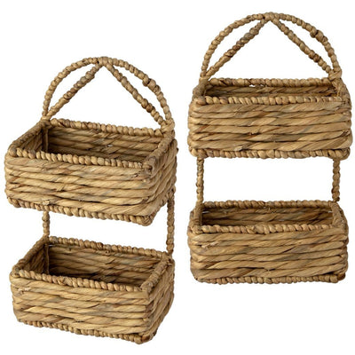 Made Terra Wall Basket Set 2 / Water Hyacinth Wall Hanging Storage Basket (2-Tier Rectangle ) | Rustic Wicker Wall-Mounted Storage Organiser Baskets