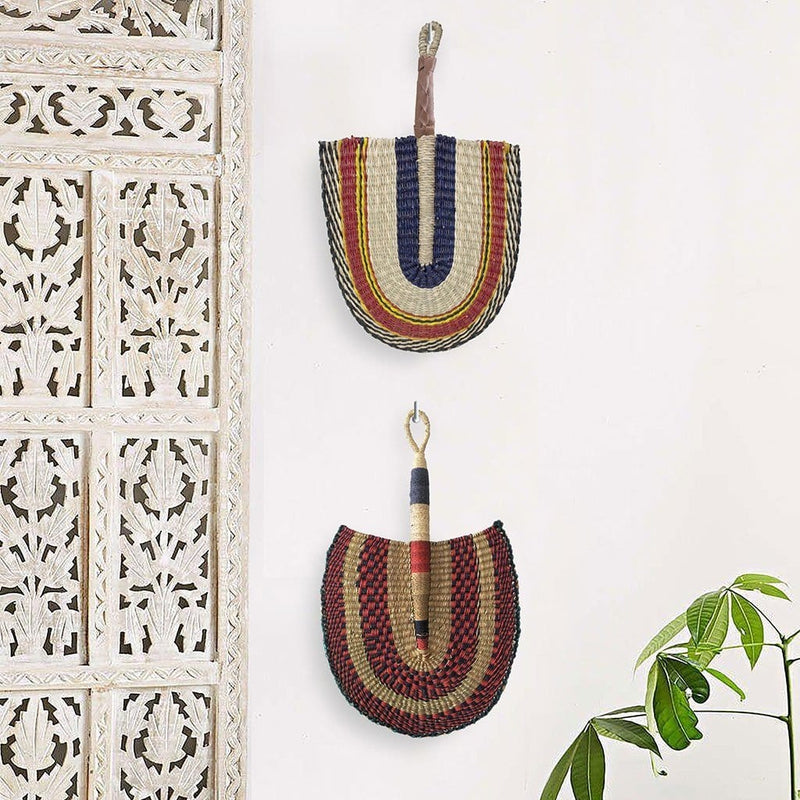 Made Terra Wall Fan Set 2 Rustic Fan Wall Decor |  Boho Woven Wall Pediment | Beautiful Wall Art (Seagrass)