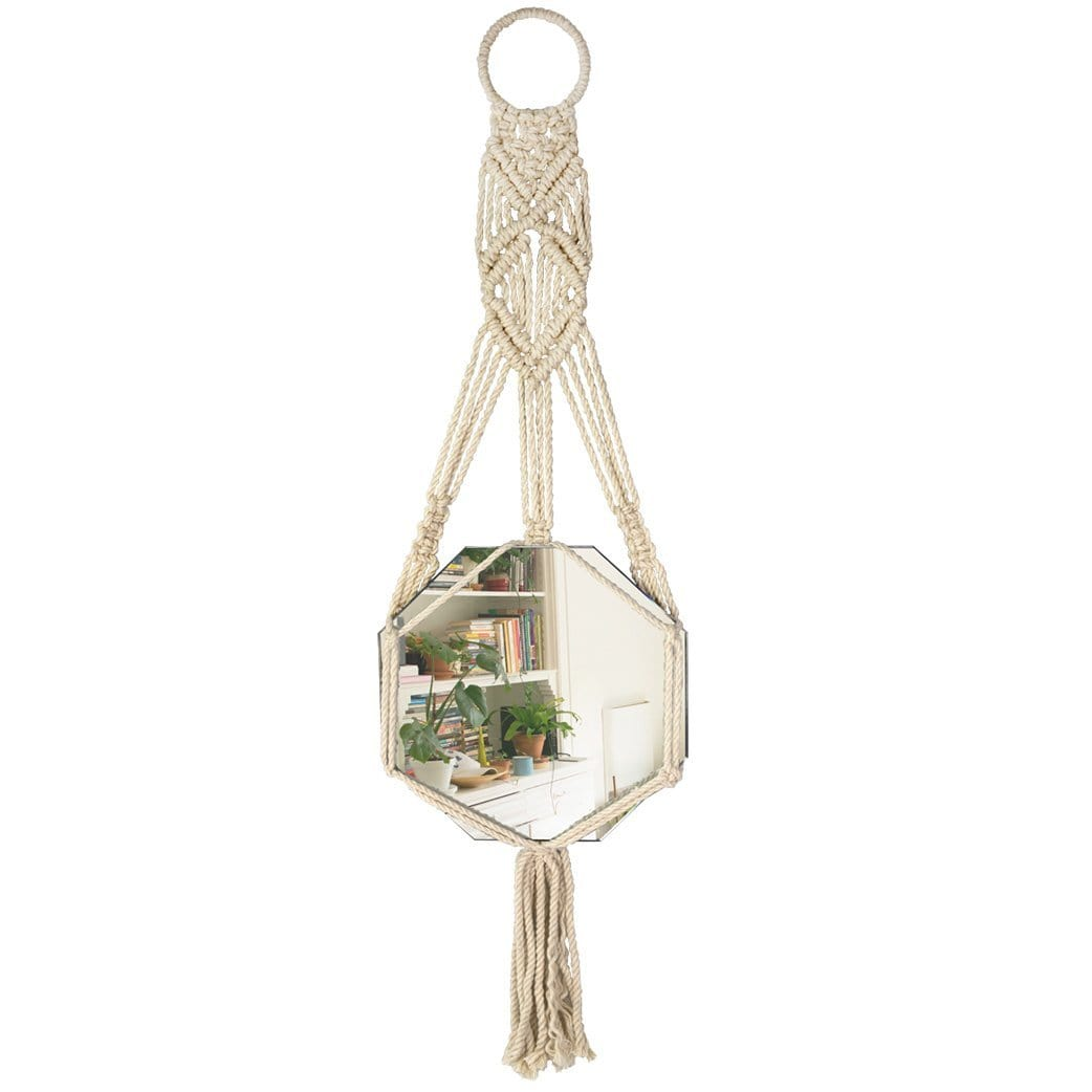Made Terra Wall Mirror Macrame Wall Hanging Mirror (Hexagon) | Rustic Bohemian Decorative Geometric Mirror