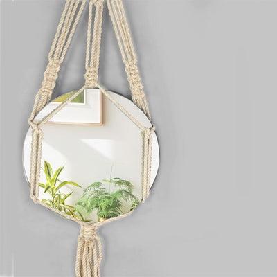 Made Terra Wall Mirror Macrame Wall Hanging Mirror (Round) | Rustic Bohemian Decorative Geometric Mirror