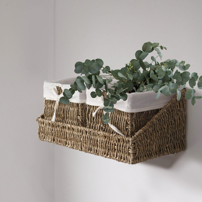 Made Terra SG-Natural Wall-mount Wicker Shelf w Storage Baskets | Tray and Removable Liners, Nesting Wall Organisation Container