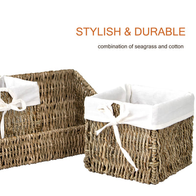 Made Terra Wall-mount Wicker Shelf w Storage Baskets | Tray and Removable Liners, Nesting Wall Organisation Container