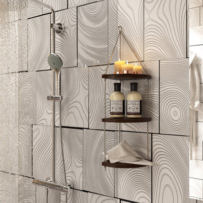 Made Terra Wall-mounted Shelves 3-Tier Fan Shaped Swing Rope Floating Shelf | Living Room Bedroom Bathroom and Kitchen Wall Hanging Storage Shelf