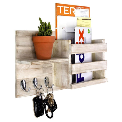 Made Terra Wall-mounted Shelves Wall-Mount Mail Sorter | Wooden Entryway FLoating Shelf for Newspapers,Key Hanger