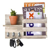 Made Terra Wall-mounted Shelves Acacia Brown Wall-Mount Mail Sorter | Wooden Entryway FLoating Shelf for Newspapers,Key Hanger