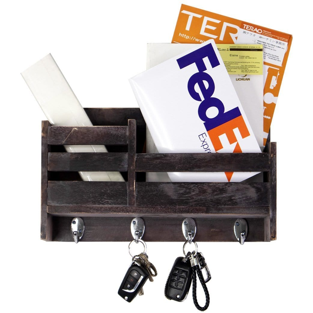 Rustic Wooden Wall Hanging Organizer For Mail Keychain Newspaper Made Terra