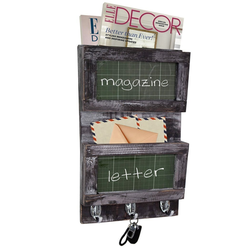 Made Terra Wall-mounted Shelves Wall-mounted Mail Organizer w Chalkboard | Wooden Mail Holder & Key Holder Hooks