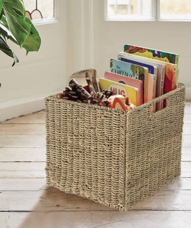 Made Terra Wicker Basket Set of 1 12x12 Wicker Storage Cube Basket |  Seagrass Storage Bin for Better Home Organization