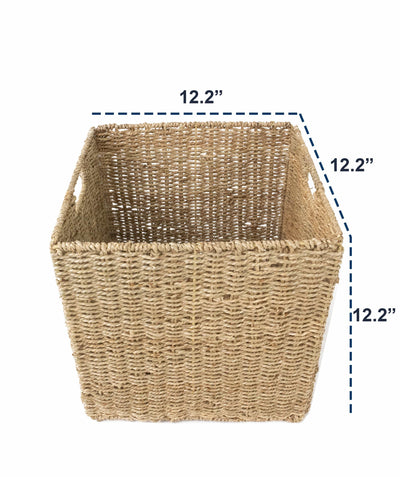 Made Terra Wicker Basket 12x12 Wicker Storage Cube Basket |  Seagrass Storage Bin for Better Home Organization