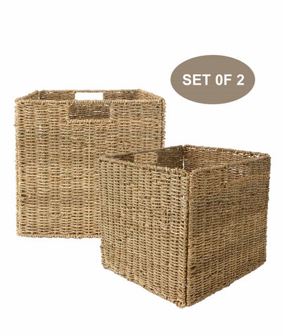 Made Terra Wicker Basket Set of 2 12x12 Wicker Storage Cube Basket |  Seagrass Storage Bin for Better Home Organization