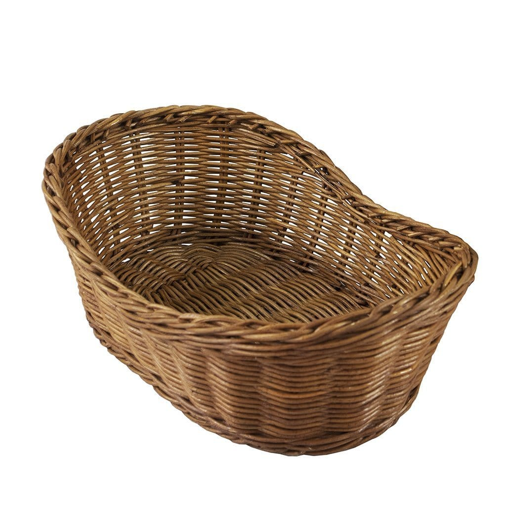 Made Terra Wicker Basket Set of 1 Oval Wicker Serving Baskets (11-Inch) | Restaurant Serving & Tabletop Display Baskets