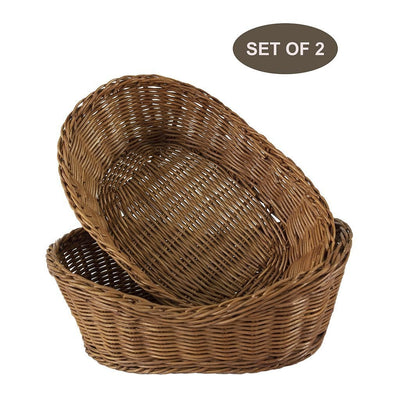 Made Terra Wicker Basket Set of 2 Oval Wicker Serving Baskets (11-Inch) | Restaurant Serving & Tabletop Display Baskets