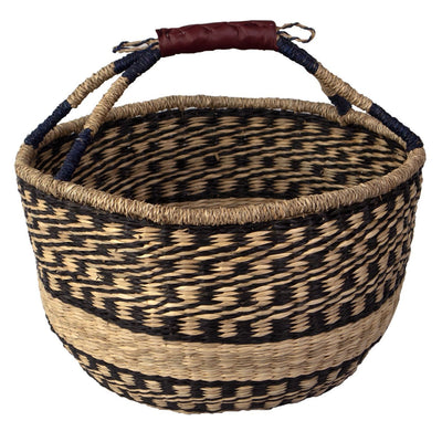 Made Terra Wicker Basket Boho Black Wicker Bolga Basket | Woven Picnic & Market Baskets with Handles