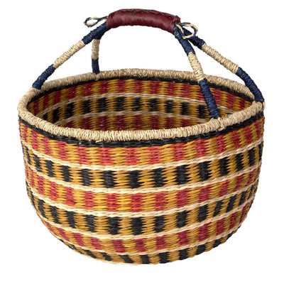 Made Terra Wicker Basket Boho Orange Wicker Bolga Basket | Woven Picnic & Market Baskets with Handles
