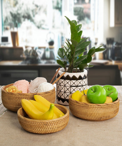 Made Terra Wicker Basket Wicker Bread Fruit Bowl Baskets | Tabletop Rattan Woven Bowls for Party Serving & Display