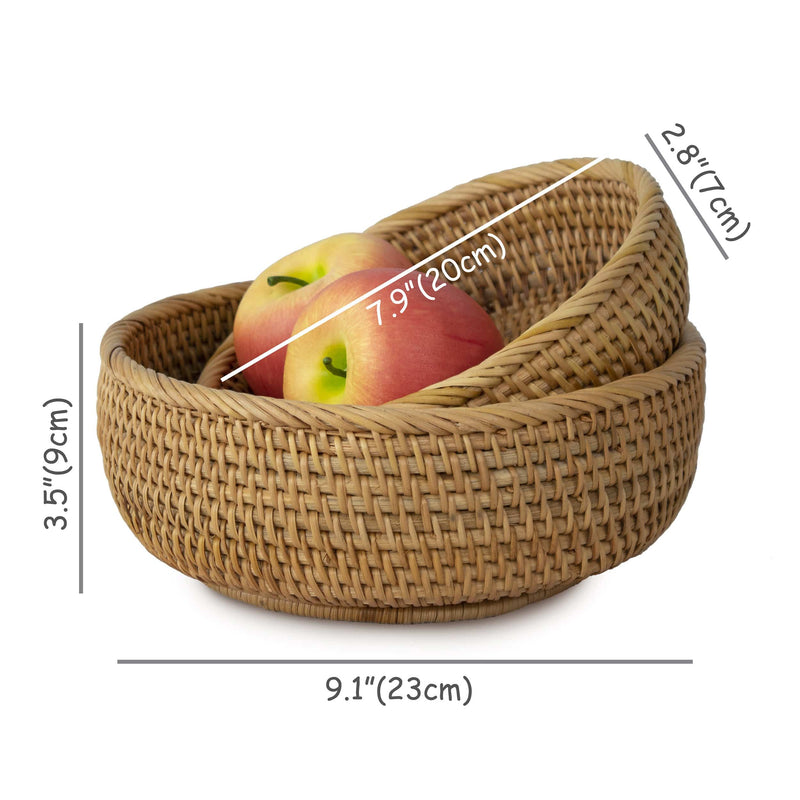 Made Terra Wicker Basket Set of 2 Wicker Bread Fruit Bowl Baskets | Tabletop Rattan Woven Bowls for Party Serving & Display