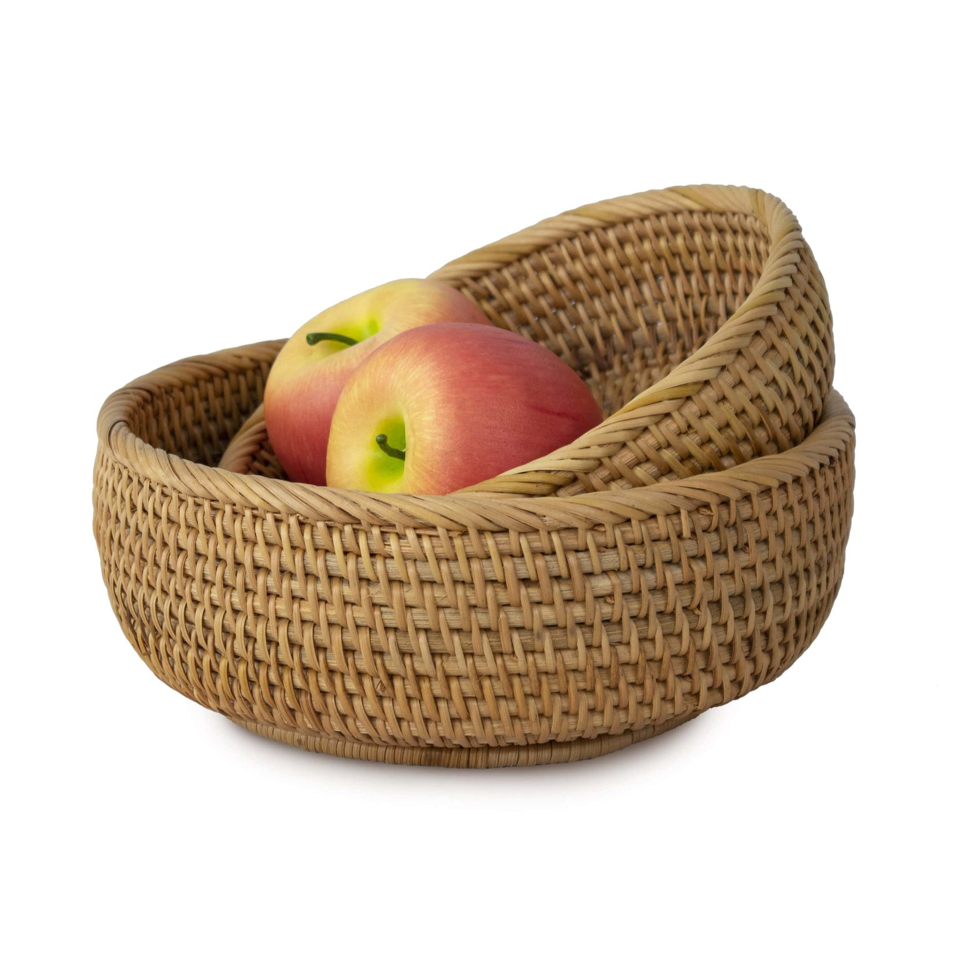 Bowl Shaped Wicker Basket Set Tabletop Serving Bowls For Home And Re Made Terra