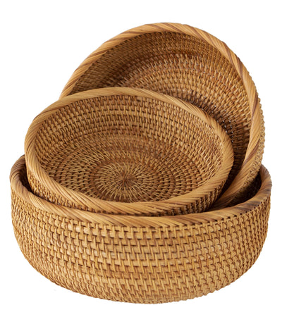 Made Terra Wicker Basket Set of 3 Wicker Bread Fruit Bowl Baskets | Tabletop Rattan Woven Bowls for Party Serving & Display