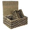 Made Terra Wicker Basket Seagrass Wicker Lidded Nesting Baskets (Set 3) | Baskets for Shelves w Lids & Insert Handles
