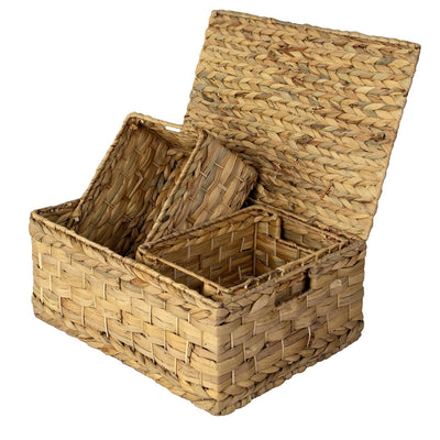 Made Terra Wicker Basket Water Hyacinth Wicker Lidded Nesting Baskets (Set 3) | Baskets for Shelves w Lids & Insert Handles