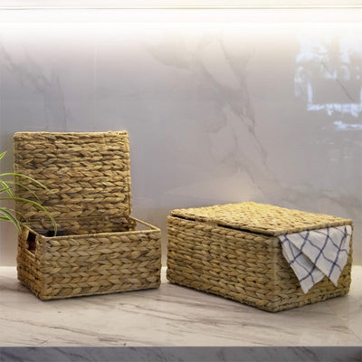 Made Terra Wicker Basket Wicker Lidded Storage Baskets (Set 3) | Baskets for Shelves w Lids & Insert Handles